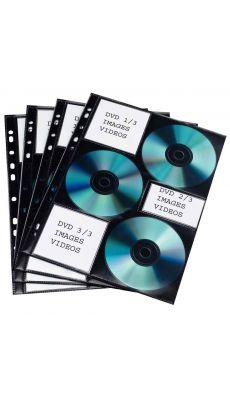 Elba - 100 206 992 - Pochette perforée pour 6 CD / DVD matière non tissée - Paquet de 10