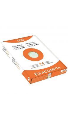 Exacompta - 13276E - Fiche bristol non perforée petit carreaux A4 assorti - Paquet de 100