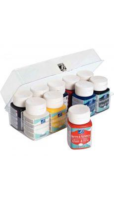 LEFRANC & BOURGEOIS - 2109571 - Peinture pour verre et faïence - boite de 10 flacons de 50ml
