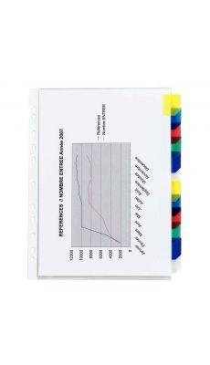 Pochettes intercalaires polypropylène onglet couleurs - jeu de 12