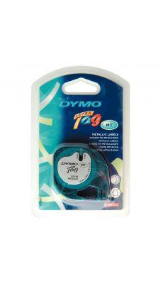 Dymo - 91208 - Ruban cassette Letratag métal - 12mm x 4m - Noir sur Argent