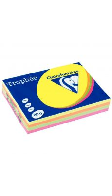 Clairefontaine - 1705 - Ramette papier A4 80g - Assortie fluo - 500 Feuilles