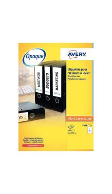 Avery - L4761-25 - Etiquette adhésive laser pour classeur à levier 62x192 mm - Paquet de 100