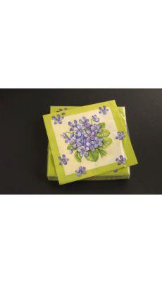 RAYHER - Serviette 33x33cm bouquet de violets - Paquet de 20