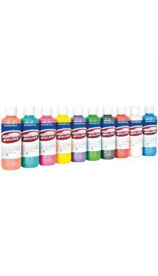 Peinture acrylique metallique assorti - boite 10 flacons 250ml