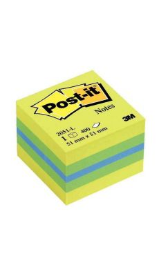 POST-IT - Bloc cube post it 51x51mm jaune citron - bloc de 400 feuilles