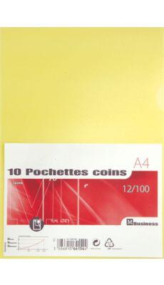 Pochettes coin polypropylène 12/100 jaune - Paquet de 10