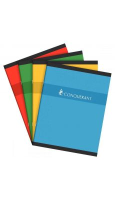 Conquerant - 100 102 555 - Cahier piqûre grand carreaux - 17x22 cm - 96 Pages