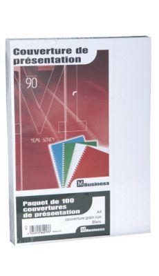PAVO - 8011100 - Couverture grain cuir blanc 250g - Paquet de 100