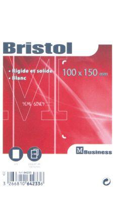 Fiche bristol uni blanche 100x150 - Paquet de 100