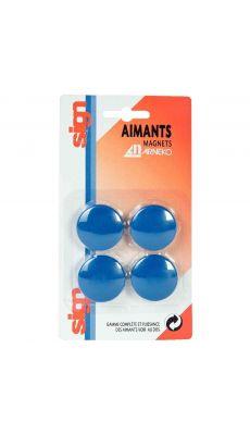 Punaise magnetique d32  bleu - Blister de 4