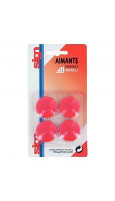 Punaise magnetique d32  rouge - Blister de 4