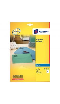 Avery - J8563.25 - Etiquette jet d'encre invisible 99,1x38,1mm - Paquet de 350