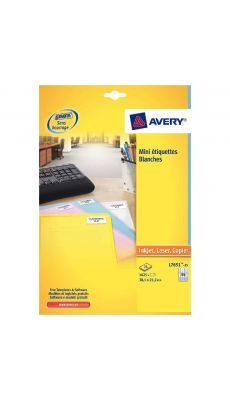 Avery - J8651-25 - Etiquette mini adresse 38x21mm - Paquet de 1625