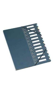 Trieur 12 cases polypropylène + carte + élastique gris