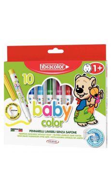 Feutre coloriage pointe moyenne bebe assorti - boite de 10