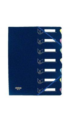 Trieur 7c polypropylène + carte + élastique bleu