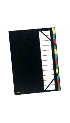 Exacompta - 55341E - Trieur plastifié 12 compartiments avec élastiques - Noir