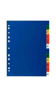 Intercalaires numeriques polypropylène couleur A4 - jeu de 12