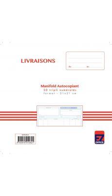 """Manifolds autocopiants Lebon & Vernay """"bon de livraison"""" ncr 21x21 50/3"""