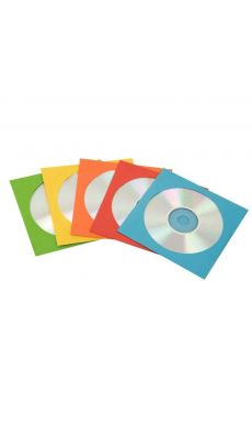 Enveloppe cd/dvd en papier assorties - pack de 50
