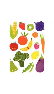 Maxi gommettte adhesive, fruit et legume - pochette de 100