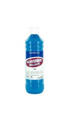 Peinture acrylique brillante bleu - flacon de 500ml