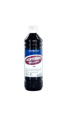 Peinture acrylique brillante noir - flacon de 500ml