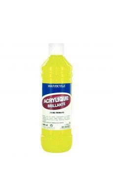 Peinture acrylique brillante jaune - flacon de 500ml