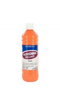 Peinture acrylique brillante orange - flacon de 500ml