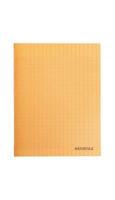 Cahier piqures grand carreaux polypropylene 17x22 96p 90g orange