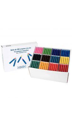 Crayon cire l9cm d8mm coloris assortis - boite de 300