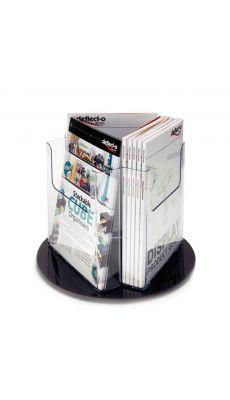 Deflecto - DE 76701 - Porte brochure rotatif de comptoir 3 compartiments vertical - A4