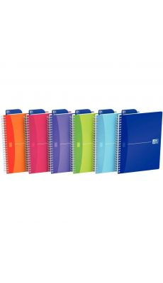 OXFORD OFFICE - 002944 - Cahier spirales petit carreaux polypropylène colours A4 100p