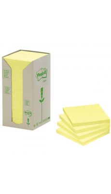 POST-IT - Tour distributrice de 16 blocs  recycles 76x76mm jaune
