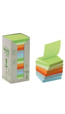 POST-IT - Tour distributrice de 16 blocs  recycles 76x76mm pastel