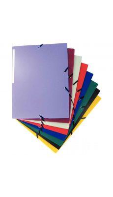 Chemise 3 rabats à élastiques polypropylène 4/10ème coloris assortis - Carton de 50