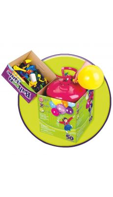 "Bouteille d'helium jetable + 30 ballons latex 9"" multicolores"