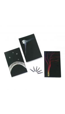 Kit cartes a gratter + plumes
