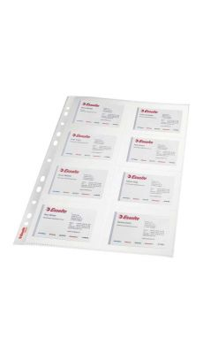 Esselte - 78930 - Pochette perforée polypropylène pour 160 cartes de visite - A4 - Paquet de 10