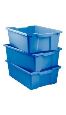 Bacs en plastique grand modèle bleu pour meubles 78669 et 78670 - Lot de 3