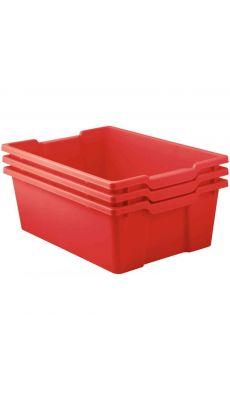 Bacs en plastique grand modèle rouge pour meubles 78669 et 78670 - Lot de 3