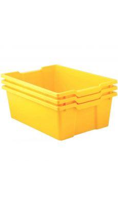Bacs en plastique grand modèle jaune pour meubles 78669 et 78670 - Lot de 3