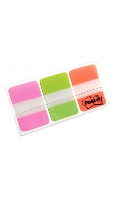 POST-IT - Index rigide orange/vert/rose - carte de 66