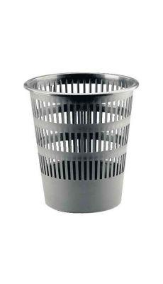 Corbeille a papier plastique ronde ajouree 16l gris