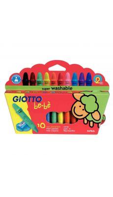 Maxi crayon cire incassable Giotto bébé (étui de 10) + taille crayons