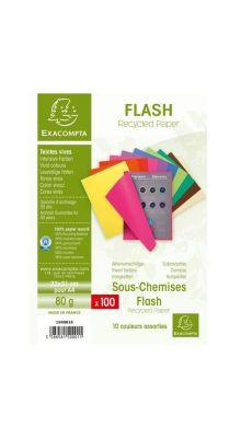 Exacompta - 150001E - Sous chemise flash recyclée 80g - 22x31 cm - Couleur vive - Paquet de 100