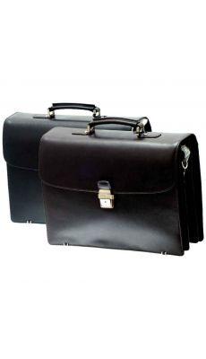 Serviette de prestige en cuir vachette, 3 soufflets noir