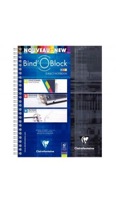 Clairefontaine - 8272C - Cahier spirale Bind'o block A5+ petit carreaux 180 Pages + 3 Intercalaires