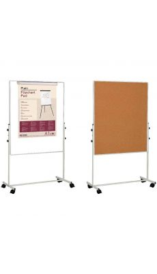 Bi-office - EA4749075 - Tableau mobile double face (1 liège - 1 tableau blanc)